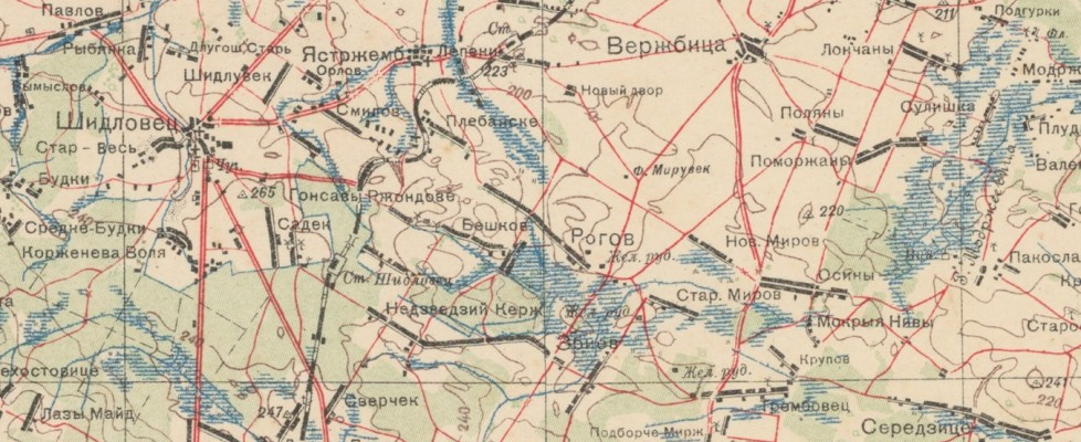 Mirowskie wsie nastarych mapach